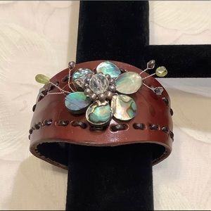 Vintage Leather and Mother Of Pearl Cuff Bracelet